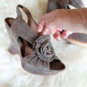 EZZIO - Taupe Suede Wedge/Platform Sandals